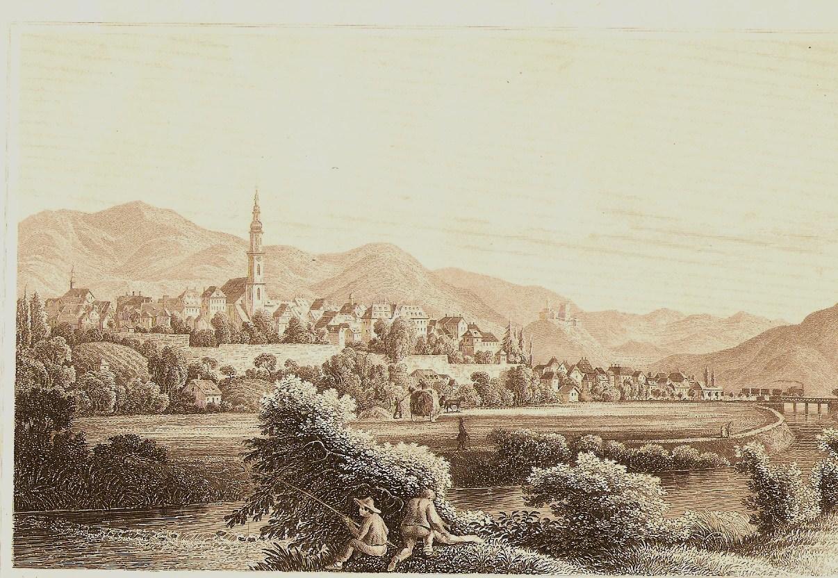Ansicht von Offenburg nach einem Stahlstich um 1840, Bild gemeinfrei