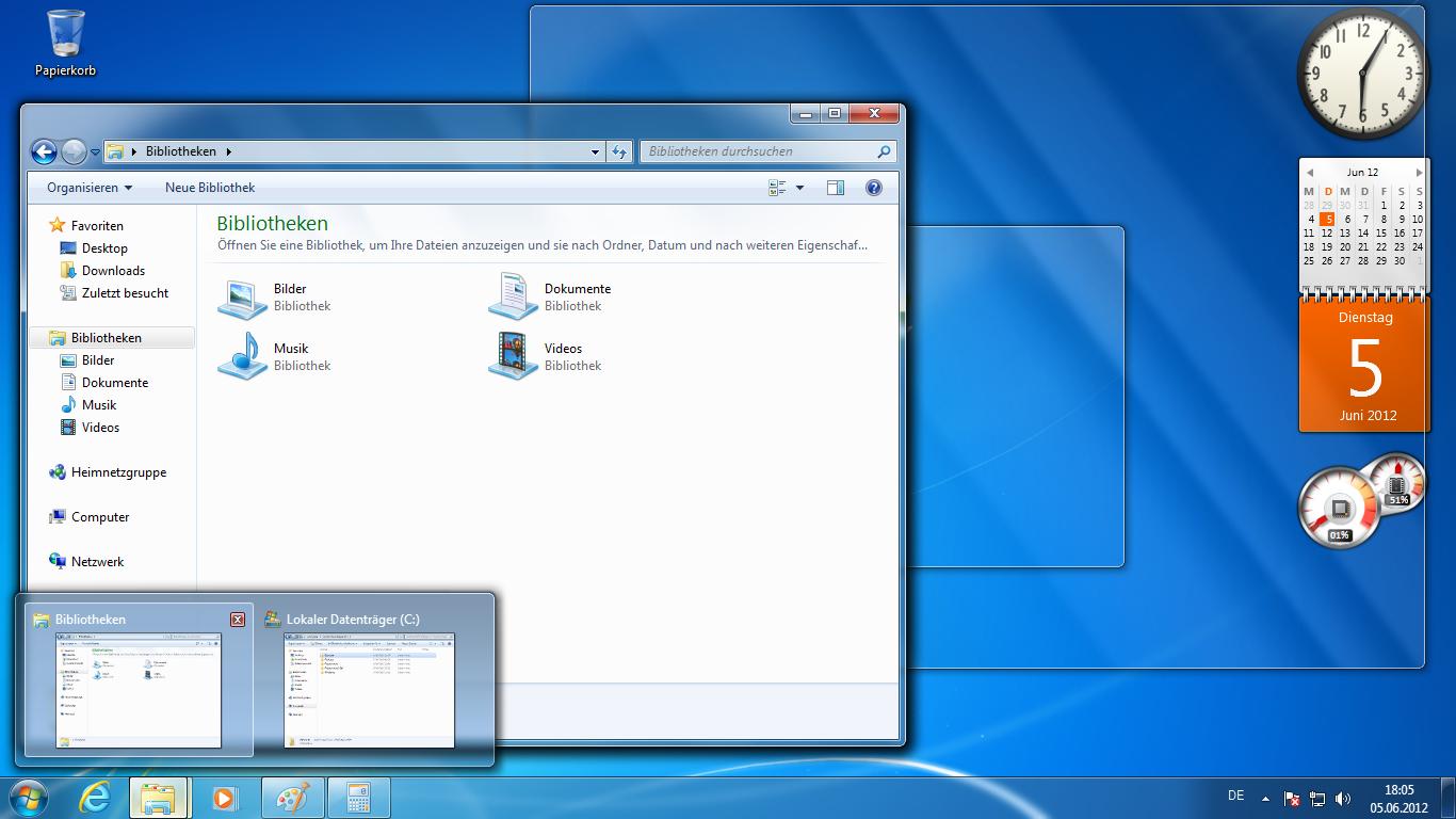 """Desktopansicht von Windows 7 Ultimate - """"Das Schäfchen"""", gemeinfrei by Wikimedia Commons"""