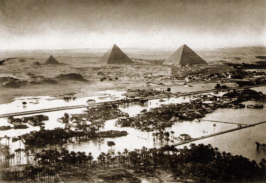 Nilflut an den Pyramiden von Gizeh, Wikimedia Commons