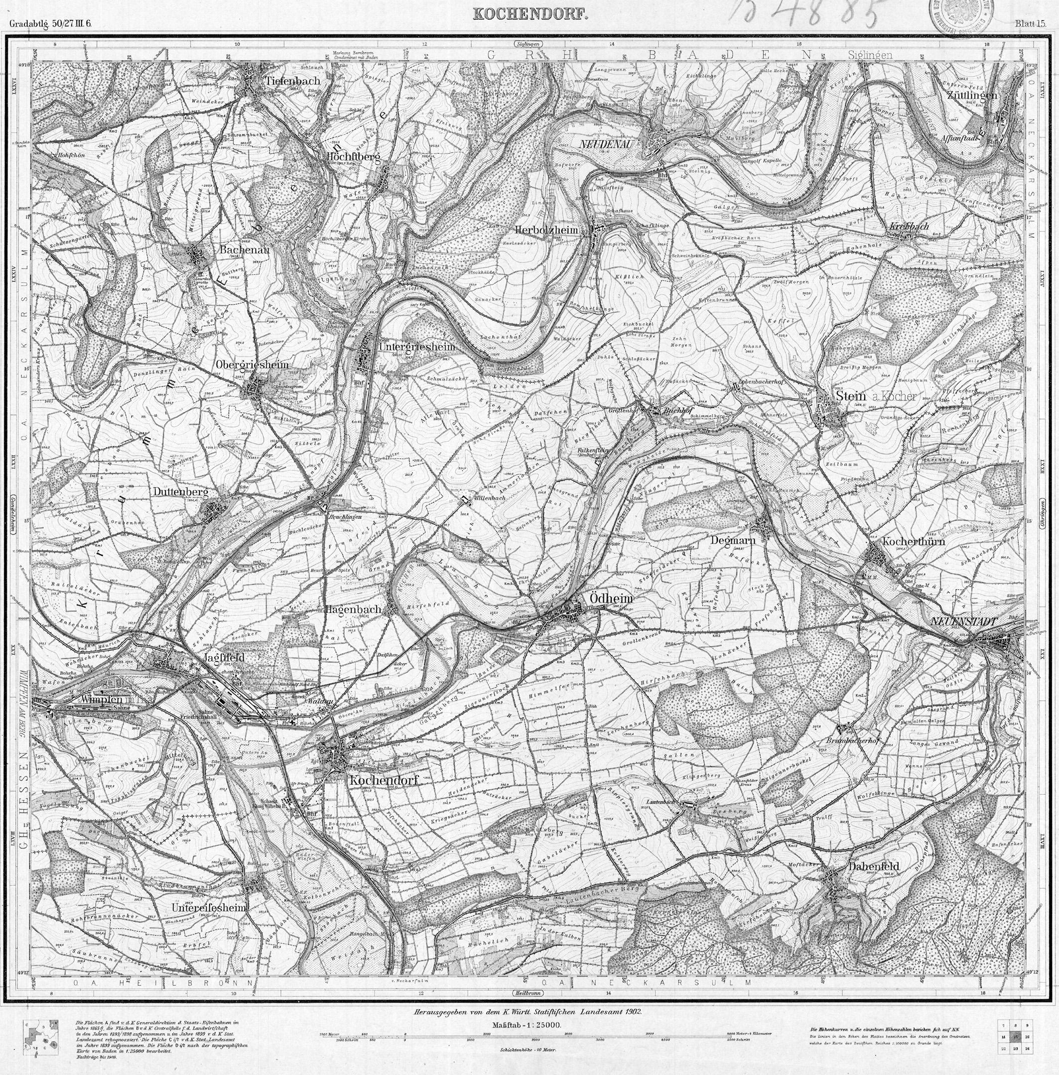topographie karte Datei:Topographische Karte 1 25000 Blatt 15 (6721) Kochendorf 1902  topographie karte