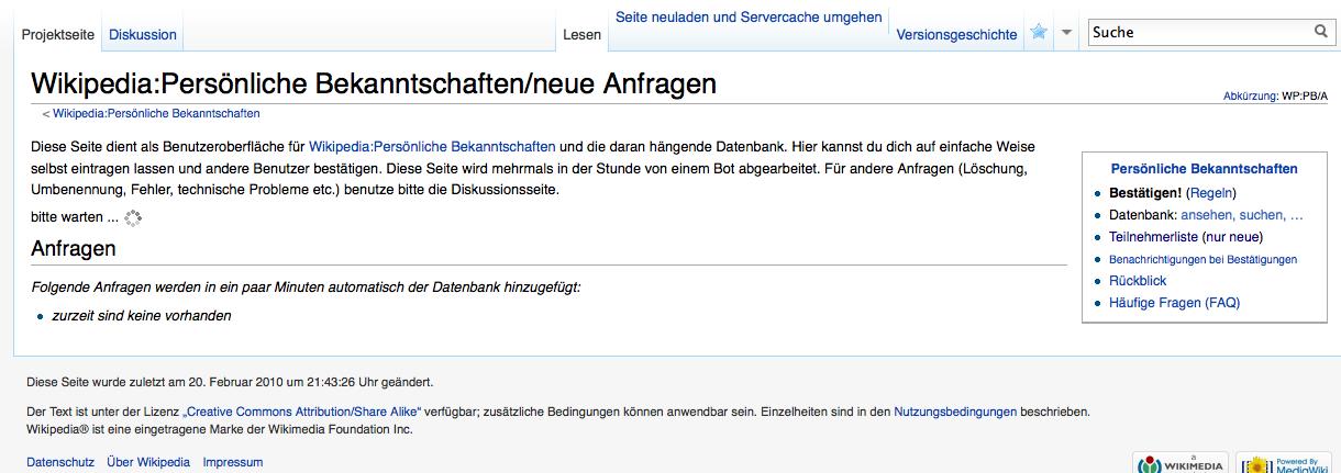 Wikipedia bekanntschaft