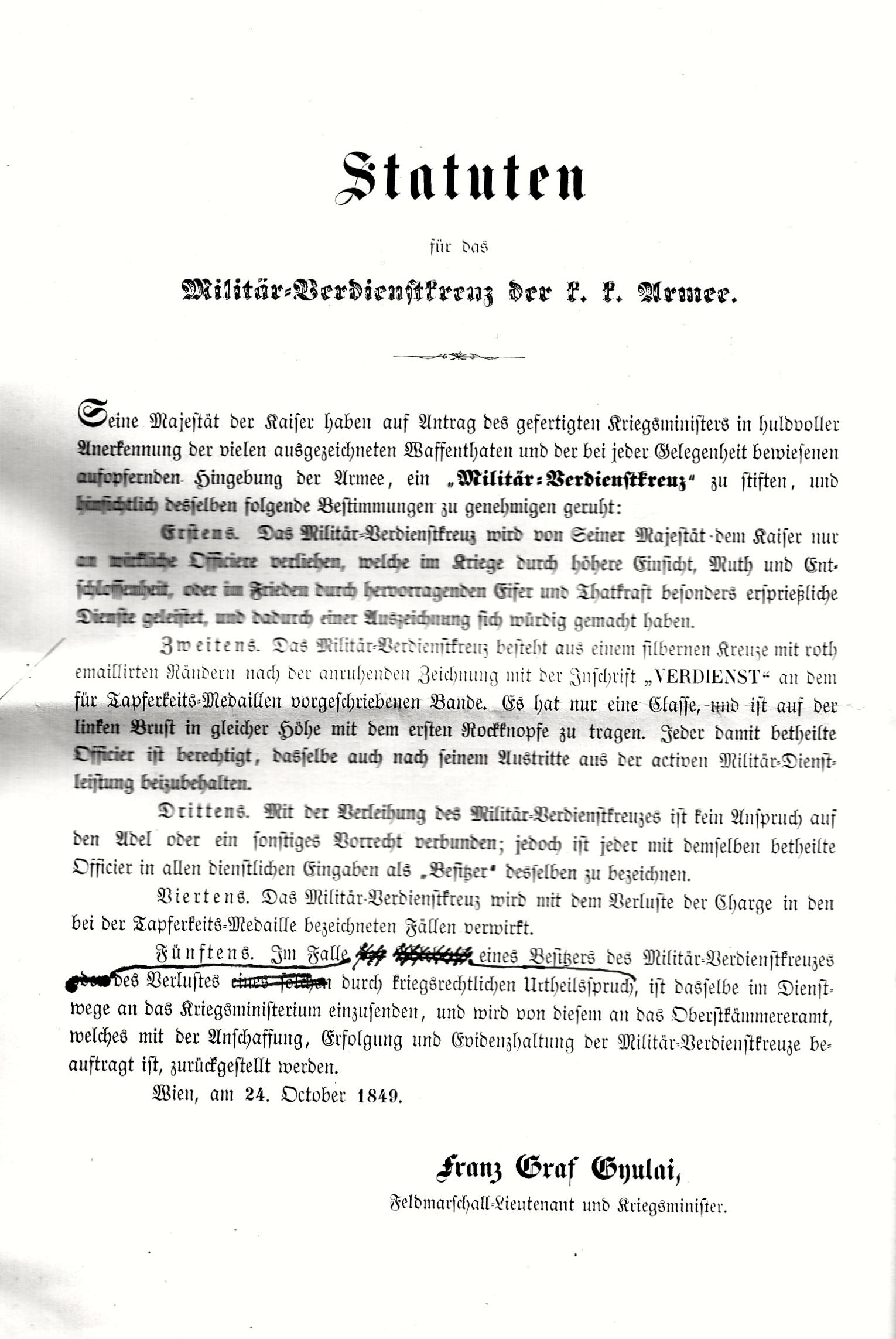 https://upload.wikimedia.org/wikipedia/de/e/e6/Statuten_f%C3%BCr_das_Milit%C3%A4r-Verdienstkreuz_der_k.k._Armee._Wien%2C_am_24._Oktober_1849._Franz_Graf_Gyulai._Feldmarschall-Leutnant_und_Kriegsminister._8.jpg