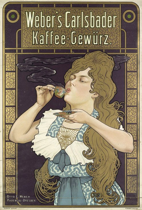 Plakat für Webers Carlsbader Kaffee-Gewürz, Farblithografie um 1900