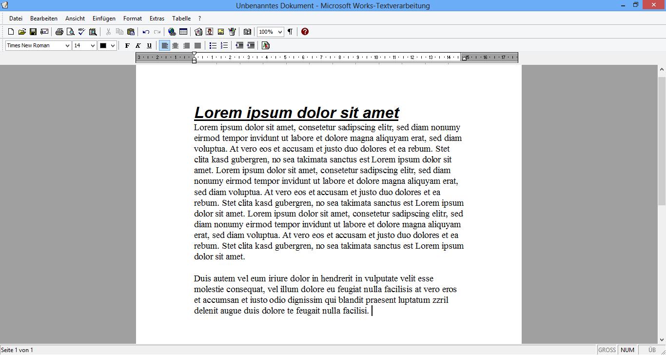 windows works textverarbeitung