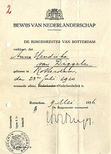nachweis zur niederlndischen staatsangehrigkeit aus dem jahr 1936 - Lebenslauf Staatsangehorigkeit