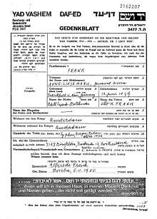 yad vashem gedenkblatt zu anne frank - Anne Frank Lebenslauf