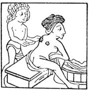 Mittelalterliche Darstellung eines Baders. Die Schröpfköpfe werden angesetzt (Holzschnitt um 1481).