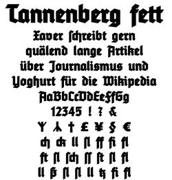 Beispieltext der schriftart tannenberg fett mit einigen
