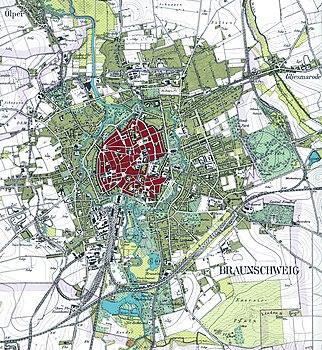 Stadtplan Braunschweigs um 1899.