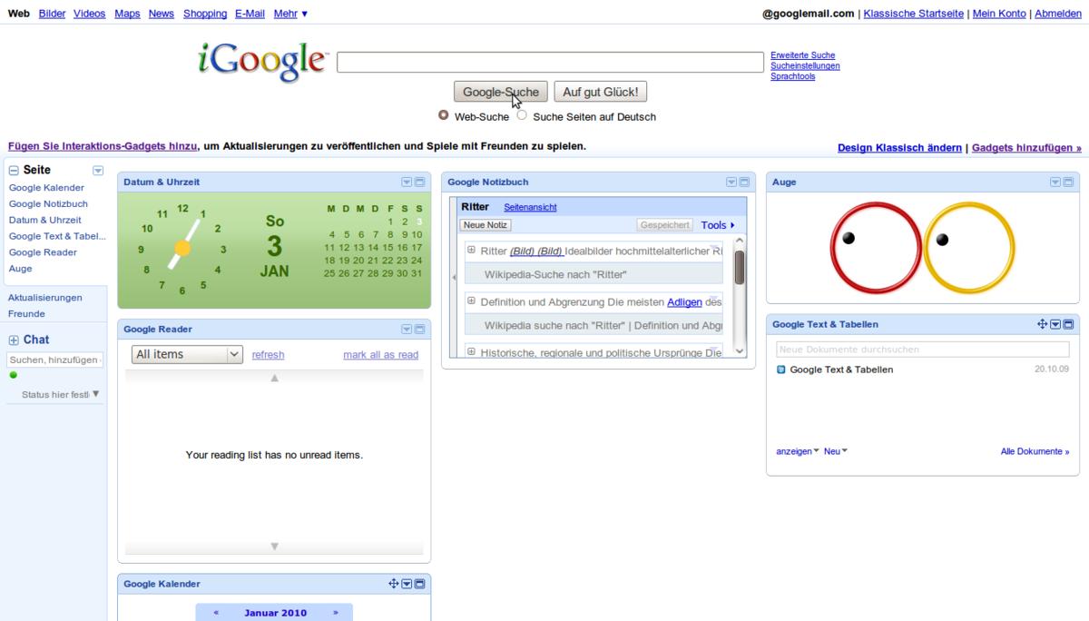 google startseite anzeigen
