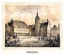 Rittergut Gersdorf um 1860 (Quelle: Wikimedia)