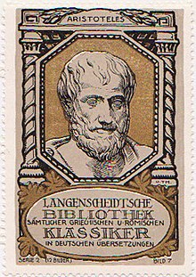Aristoteles auf einer Sammelmarke des Langenscheidt-Verlags (Quelle: Wikimedia)