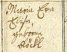 """Registrierung von """"Maria Eva Elise[!], geborne Röckl"""" bei der Taufe ihres Sohnes Eduard Hummel, 1814 – Wien, Stephansdom (Quelle: Wikimedia)"""