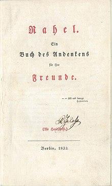 Erstausgabe von Rahel. Ein Buch des Andenkens für ihre Freunde (1833) (Quelle: Wikimedia)
