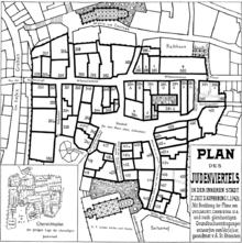 1909 Erstellter Plan Des Wiener Judenviertels In Der Inneren Stadt Zur Zeit  Der Aufhebung Im Jahre 1421. Die Mit 343 Gekennzeichnete Liegenschaft Ist  Das ...