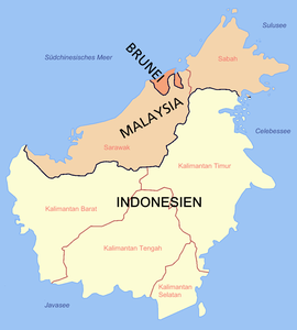 Politische Karte von Borneo
