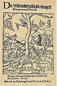 Hans Sachs: Die Wittenbergisch Nachtigall, Eilenburg 1523, Titel und Text (Quelle: Wikimedia)