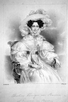 Karoline, Königin von Bayern, Lithographie von Robert Theer nach einem Gemälde von Johann Ender, ca. 1830 (Quelle: Wikimedia)