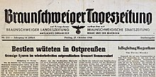 """Newspaper clipping with the headline """"Beasts raged in East Prussia"""""""