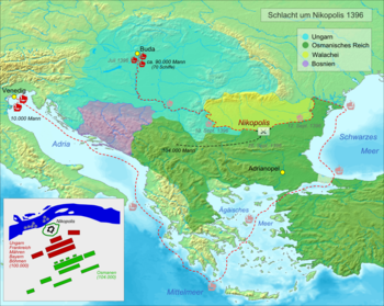 Map of the Battle of Nicopolis with the approach routes of the armies involved (the army strengths are the maximum numbers given in the sources)