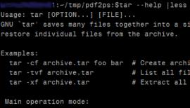 Screenshot of the GNU tar help display
