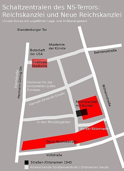Lage der Neuen Reichskanzlei im Straßenbild