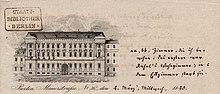 Von Karl August Varnhagen kommentierte Ansicht der Mauerstr. 36 (Briefkopf, 1840), Tagesblätter, Jagiellonische Bibliothek, Krakau (Quelle: Wikimedia)