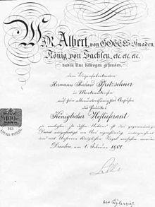 Hoflieferantendiplom An Hermann Richard Pfretzschner, Violin , Cello  Und  Bassbogenhersteller (1901)