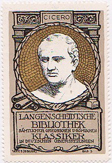 Cicero auf einer Sammelmarke des Langenscheidt-Verlags (Quelle: Wikimedia)