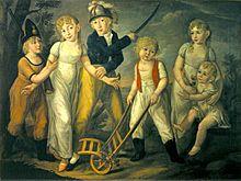 Martin Joseph Bauer: Familienbild der Freiherr von Mantey-Dittmerschen Kinder aus zweiter Ehe (um 1809), Georg Friedrich dritter von rechts (Quelle: Wikimedia)