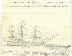Skizze von Thomas Nickerson zum Angriff eines Pottwals am 20. November 1820 auf die Essex