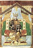 Charles the Bald, illustration from a manuscript which Liuthard wrote for himself between 842 and 869 in golden uncial script