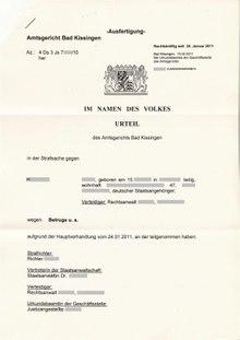 urteil deutschland - Einspruch Gegen Versaumnisurteil Muster