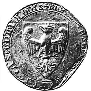 Przemysław's royal seal with the crowned white eagle of the Piasts;  the coat of arms of Poland has its origin here