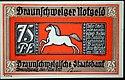Braunschweiger Notgeld, 75 Pfennig (voorkant) ontworpen door Günther Clausen
