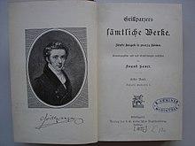 Grillparzer sämtliche Werke, Ausgabe im Cotta-Verlag (Quelle: Wikimedia)
