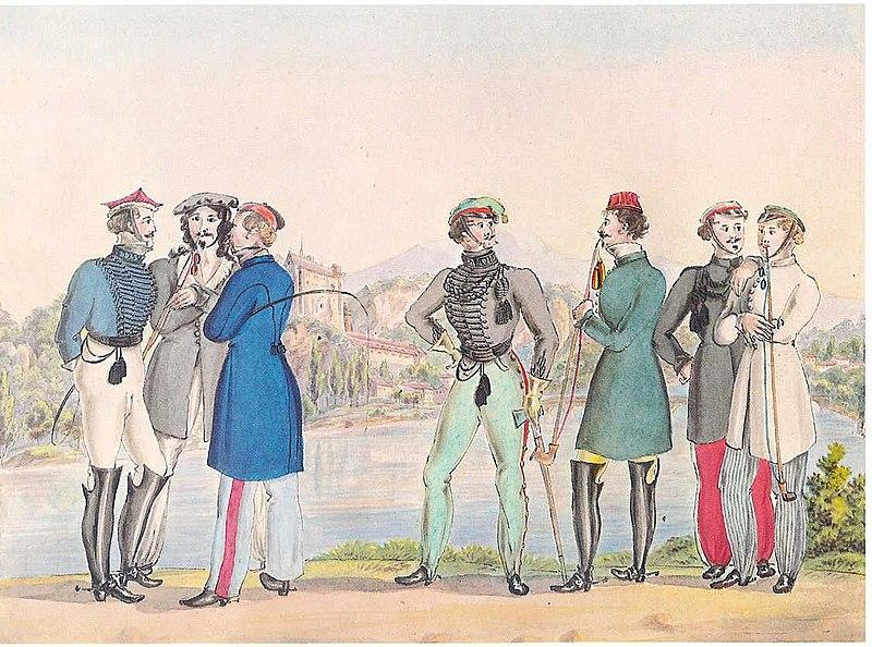 Datei:Würzburger Studententrachten um 1820.jpg