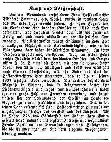 """Nachruf in der Weimarischen Zeitung vom 6. März 1883 mit der Bemerkung: """"Zu ihren Verehrern gehörte auch Beethoven."""" (Quelle: Wikimedia)"""