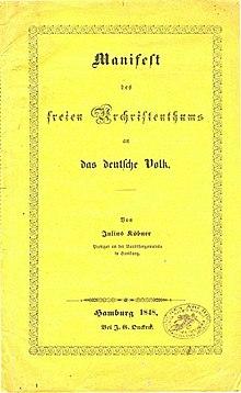 Titelseite Juliusk Des Manifests Freien Urchristenthums