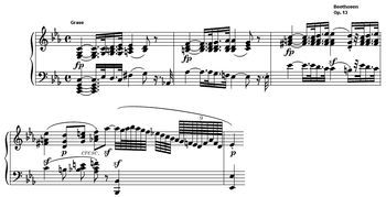 Bars 1–4 of the first movement from Beethoven's Pathetique