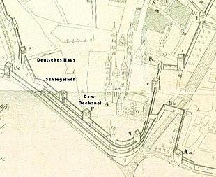 ausschnitt aus dem stadtplan 1730