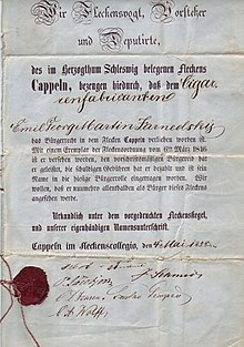 verleihung der brgerrechte gedruckte urkunde mit handschriftlichen ergnzungen kappeln 1858 mit rotem lacksiegel und sechs signaturen des - Burgerrechte Beispiele