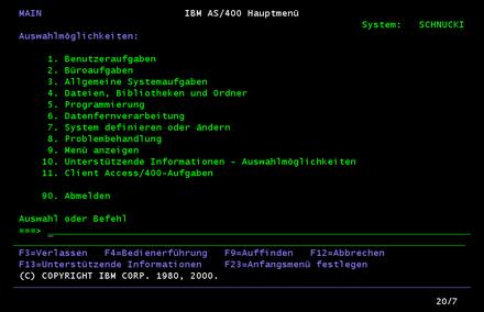 5250 bildschirm os400 hauptmen - As400 Computer System