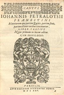 Titelblatt einer Ausgabe von Palestrinas Motetten (Quelle: Wikimedia)