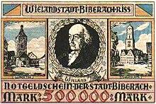 Biberacher Notgeld von 1923 mit Wielandporträt (Quelle: Wikimedia)