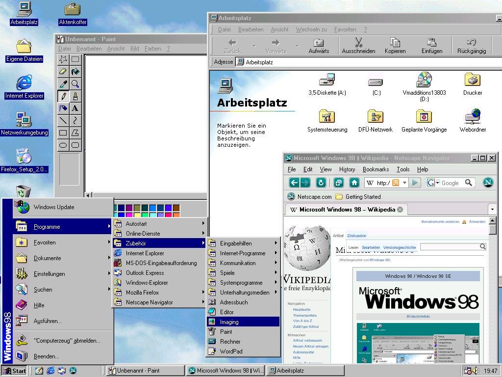 Bildschirmausdruck von Windows 98 SE
