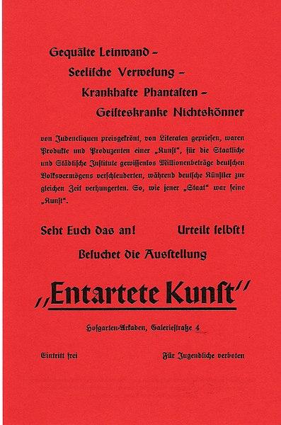 Handzettel zur Ausstellung Entartete Kunst in München 1937