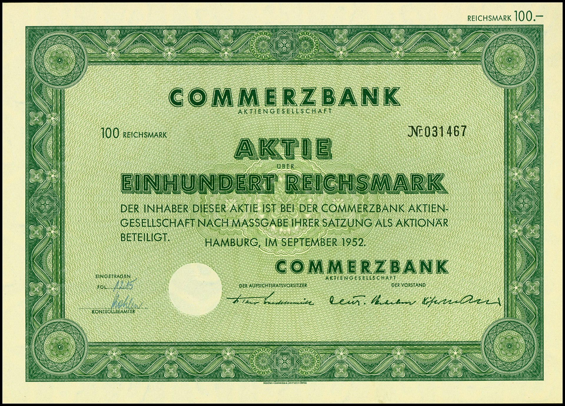 Aktien Commerzbank