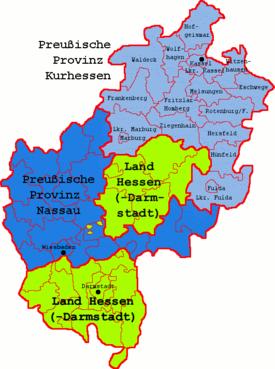 Map of the Prussian Province of Kurhessen