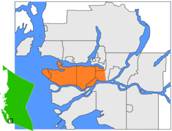 Burrard-Halbinsel (orange) in Greater Vancouver